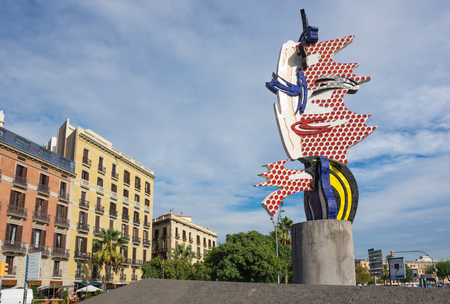 The Face of Barcelona is gigantic Pop Art face, symbolizes the colossal changes that the city underwent preparing for the 1922 Olympics, Barcelona, Spain Editorial