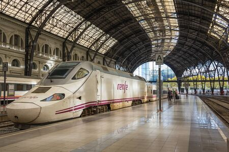 BARCELONA, SPAIN - OCTOBER 22, 2015: The elegant building of the station Estacio de Franca is a prime example of Spanish monumental architecture of the XX century and the most beautiful railway station in Barcelona, Spain