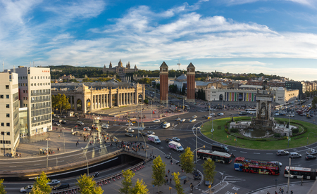 montjuic: BARCELONA, SPAIN - OCTOBER 23, 2015: Placa dEspanya, also known as Plaza de Espana in Spanish, is one of Barcelonas most important squares, built on the occasion of the 1929 International Exhibition, Spain