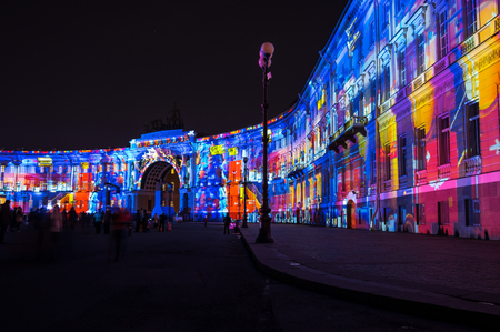 christmas military: Light show on Palace square in the New Year Eve, Saint Petersburg, Russia Editorial
