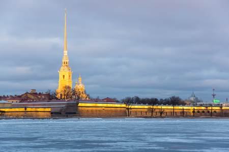 The Peter and Paul fortress on sunset, Saint Petersburg, Russia