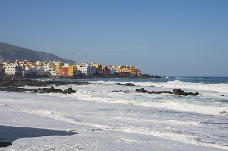 The coast of Atlantic ocean in Puerto De La Cruz, one of the most popular touristic towns, Canary islands, Spain Stock Photo