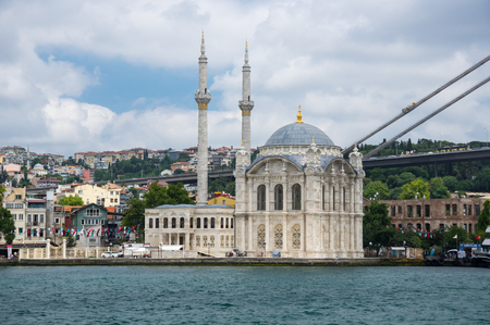 ISTANBUL, TURKEY - JUNE 25, 2015:Ortaköy Mosque (Grand Imperial Mosque of Sultan Abdulmecid) in Istanbul, Turkey, is situated at the waterside of the Ortakoy pier square, one of the most popular locations on the Bosphorus