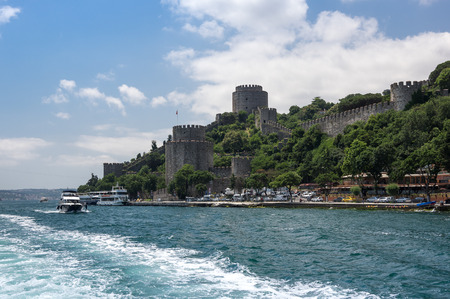 ISTANBUL, TURKEY - JUNE 25, 2015: Rumelihisarı (also known as Rumelian Castle and Roumeli Hissar Castle) is a fortress located in Istanbul, Turkey, on a hill at the European side of the Bosphorus