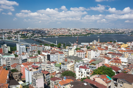 Panoramic view of Istanbul and Golden Horn from Galata tower, Turkey