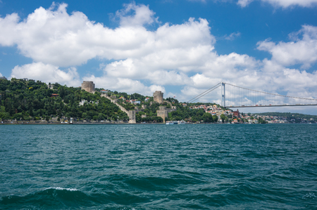 Panoramic view of Istanbul and Bosphorus, which separates Asian Turkey from European Turkey in Istanbul