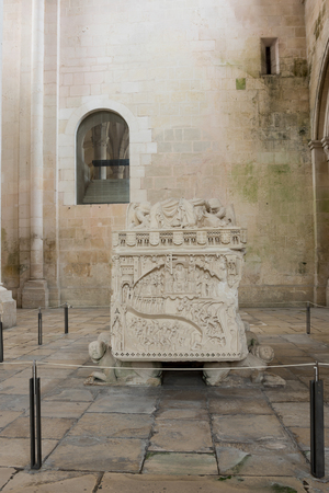 The tomb of Ines de Castro in the Alcobaca Monastery, a Mediaeval Roman Catholic monastery located in the town of Alcobaca, Portugal Stock Photo