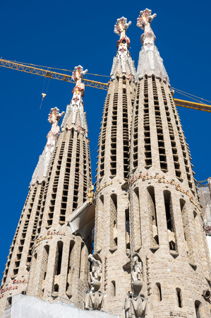 Basilica and Expiatory Church of the Holy Family is a large Roman Catholic church in Barcelona, designed by Catalan Spanish architect Antoni Gaudi Stock Photo