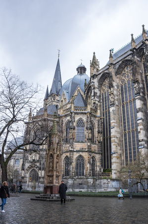 AACHEN, GERMANY - FEBRUARY 20, 2016: Aachen cathedral is the oldest Roman Catholic church in northern Europe, Aachen, Germany Editorial