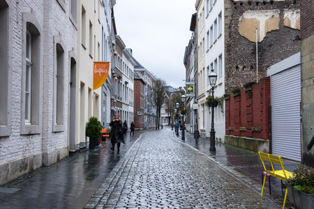 AACHEN, GERMANY - FEBRUARY 20, 2016: Street in the historical center of Aachen, the westernmost city in Germany, located near the borders with Belgium and the Netherlands
