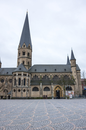 BONN, GERMANY - FEBRUARY 21, 2016: The Bonn Minster is a Roman Catholic church in Bonn, Germany. It is one of Germanys oldest churches, having been built between the 11th and 13th centuries