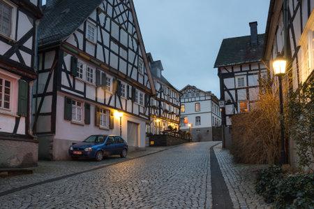FREUDENBERG, GERMANY - FEBRUARY 21, 2016: Half-timbered houses of Freudenberg, a town in North Rhine-Westphalia, Germany