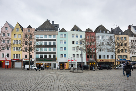 COLOGNE, GERMANY - FEBRUARY 22, 2016: Street in the historical center of Cologne, the largest city in the German federal State of North Rhine-Westphalia and the fourth-largest city in Germany Editorial