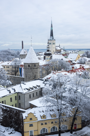 Panoramic view of Old Town in Tallinn, Estonia. Stock Photo