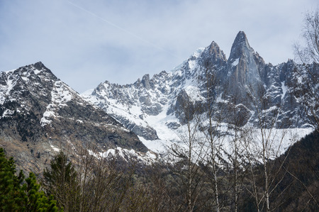 Panoramic view of Alps, the highest and most extensive mountain range system that lies entirely in Europe