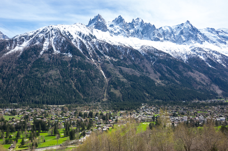 Panoramic view of Chamonix and Alps, the highest and most extensive mountain range system that lies entirely in Europe