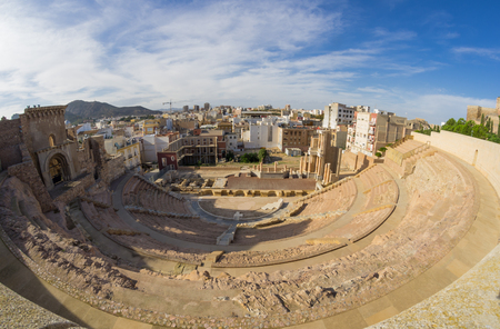 Ruins of roman amphitheater in Cartagena, Spain 免版税图像 - 83415831