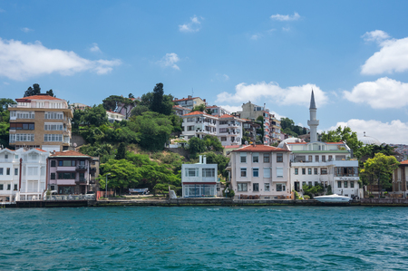 ISTANBUL, TURKEY - JUNE 25, 2015: Panoramic view of Istanbul and Bosphorus, which separates Asian Turkey from European Turkey in Istanbul, Turkey