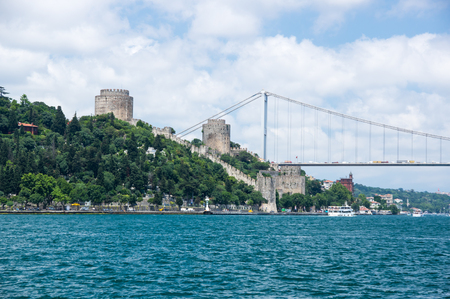 Rumelihisari (also known as Rumelian Castle and Roumeli Hissar Castle) is a fortress located in Istanbul, Turkey, on a hill at the European side of the Bosphorus Stock Photo