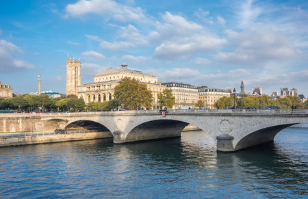Pont au Change across the Seine river in the historical centre of Paris, the capital and most visited city of France
