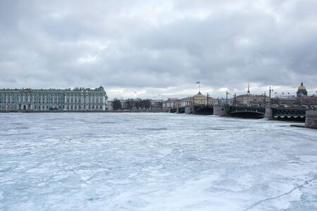 saint: The Winter Palace and Palace bridge in Saint Petersburg, Russia