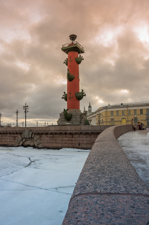 saint: View on Vasilyevsky island in the winter, Saint Petersburg, Russia