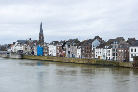 Embankment of the Meuse river in the historical center of Maastricht, a city and a municipality in the southeast of the Netherlands