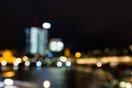 Abstract pattern of city lights from cars, windows, streetlights and bars Stock Photo