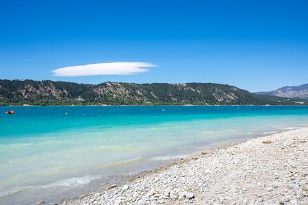 View on Lac de Sainte-Croix in Provence, France Stock Photo