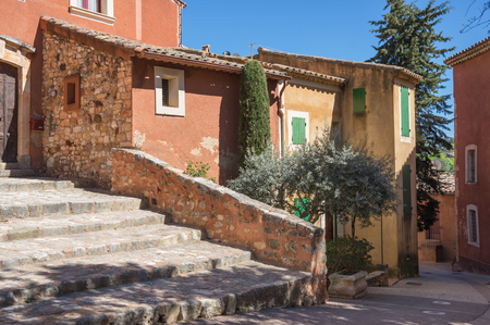 Street of medieval village of Roussillon. It ochre village is included in list of The most beautiful villages of France