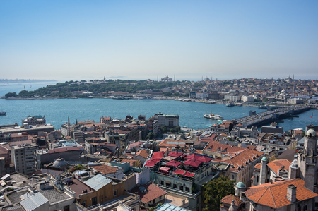 ISTANBUL, TURKEY - JUNE 25, 2015: Panoramic view of Istanbul and Bosphorus from Galata tower, Turkey