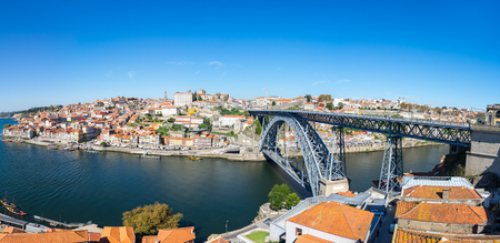 Panorama of river Douro and the old town of Porto, the second largest city in Portugal after Lisbon Stock Photo