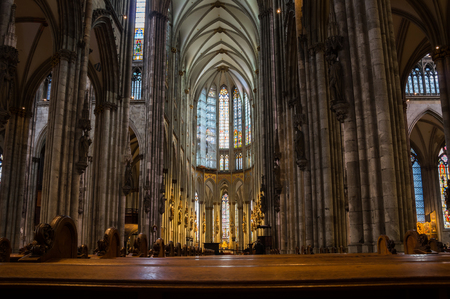 Interior of Cologne Cathedral (officially High Cathedral of Saint Peter), a Roman Catholic cathedral in Cologne, Germany Editorial