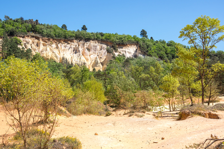 View on Rocks of Colorado provencal in Rustrel, France Stock Photo