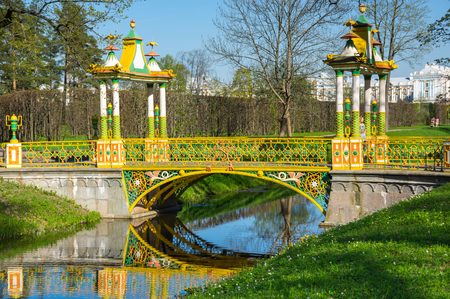 Bridge across canal in Alexander's park in Tsarskoe Selo (Pushkin), Saint Petersburg, Russia
