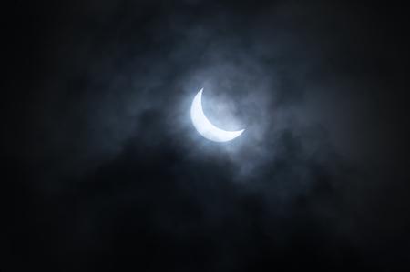 Partial solar eclipse on 20 of March 2015 in Saint-Petersburg, Russia Foto de archivo