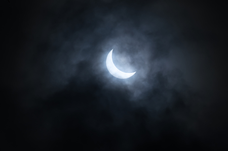 Partial solar eclipse on 20 of March 2015 in Saint-Petersburg, Russia Zdjęcie Seryjne