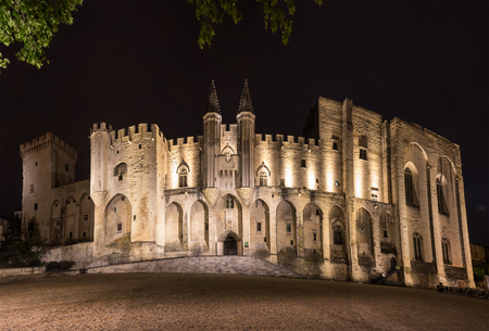Avignon pope palace in the night, France Editorial