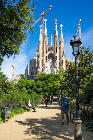 BARCELONA, SPAIN - OCTOBER 22, 2015: Basilica and Expiatory Church of the Holy Family is a large Roman Catholic church in Barcelona, designed by Catalan Spanish architect Antoni Gaudi Editorial