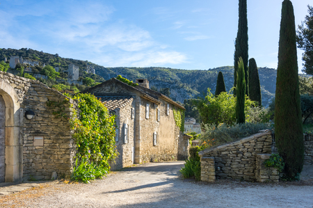 Street of town Oppede-le-Vieux in Provence, France