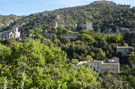 Panoramic view of town Oppede-le-Vieux in Provence, France Stock Photo