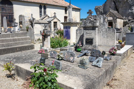 AIGUEZE, FRANCE - APRIL 28, 2016: The cemetery of the village of Aigueze, a small village located south of France in the department of Gard of the french region Languedoc-Roussillon.