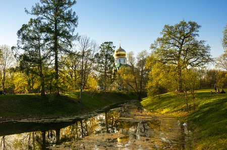 View of city park in spring, Saint-Petersburg, Russia