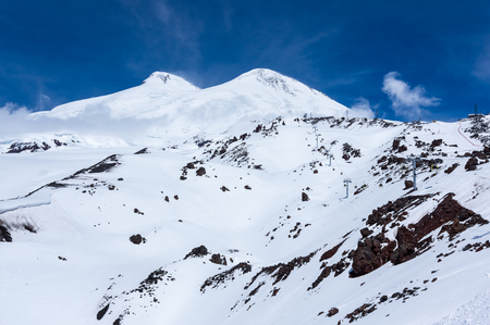 Double peak of Mount Elbrus, the highest mountain in Europe