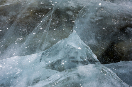 Ice of Lake Baikal, the deepest and largest freshwater lake by volume in the world, located in southern Siberia, Russia