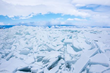 View of ice hummocks on Lake Baikal, Olkhon island, Siberia, Russia