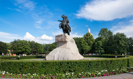 The Bronze Horseman is an equestrian statue of Peter the Great in the Senate Square in Saint Petersburg, Russia