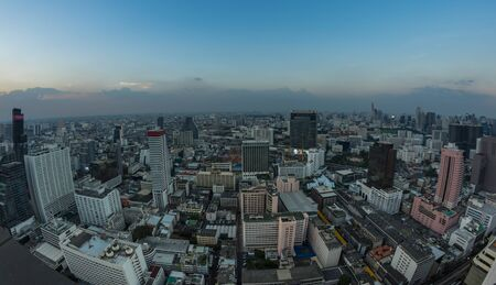 BANGKOK, THAILAND - JANUARY 20, 2017: Top view of skyscrapers in Bangkok from the roof of the bar Cloud 47, Bangkok, Thailand