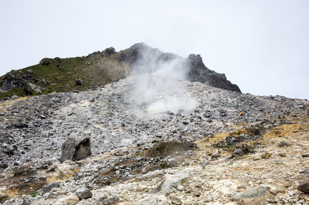 The crater of volcano Sibayak on island Sumatra, Indonesia