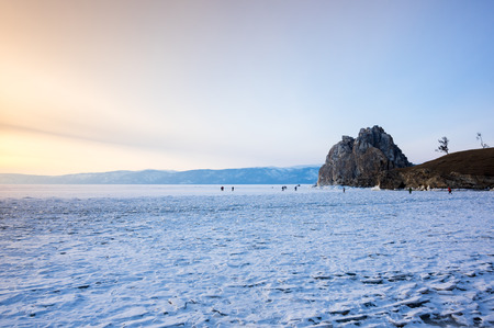 View of Lake Baikal in winter, the deepest and largest freshwater lake by volume in the world, located in southern Siberia, Russia Stock Photo